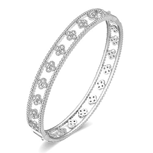 Van Cleef Inspired Clover Bracelet (Silver) ()