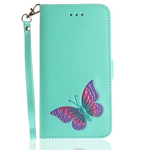 iPhone 7 Plus Case, iPhone 8 Plus Case, Ranyi [Bling Butterfly Wallet] [Hand Drawing Embossed] [Kickstand Feature] Magnetic Flip Leather Wallet Case for Apple iPhone 7 Plus / 8 Plus (mint)