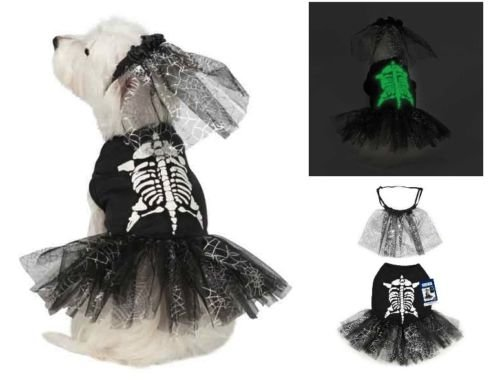 Halloween SKELETON ZOMBIE Glow Dog Pet Costume Bridezilla Dress (M (Medium))