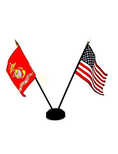 - Kaputar USA + Marine Corps 4x6 Miniature Desk Table Flag Set w/ 2 Hole Black Base   Model FLG - 6551