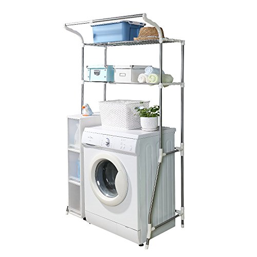 BAOYOUNI 2-Layer Over Washing Machine Storage Rack Utility Metal Bathroom Shelf 6-Hook Space Saver Width Adjustable Organization for Laundry Room Toilet (62-101cm, White) (Best Washer And Dryer For Small Space)