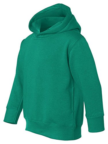 Rabbit Skins Toddler Ribbed Pockets Fleece Hooded Sweatshirt, Kelly, (3326 Rabbit)