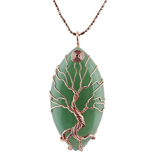 TUMBEELLUWA Tree of Life Pendant Necklace, Healing Crystals Jewelry for Women
