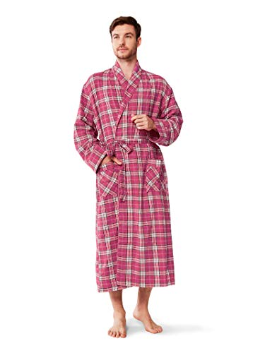 SIORO Mens Flannel Robes Soft Cotton Plaid Bathrobe Shawl Collar Loungewear,Fuchsia -