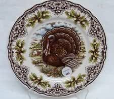 "Victorian English Pottery Turkey Thanksgiving Challinor Salad Plates Set of Four 8 1/2"" Diameter"