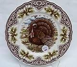 Victorian English Pottery Turkey Thanksgiving Challinor Salad Plates Set of Four 8 1/2'' Diameter