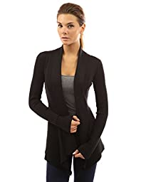 PattyBoutik Women\'s Ribbed Cascading Open Cardigan (Black M)