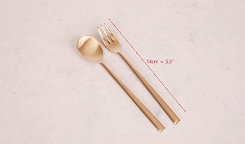 Korean Traditional Flatware Modern Gold color Brass Tea Spoon Fork Set Great for Gift (4 spoons + 4 Forks)