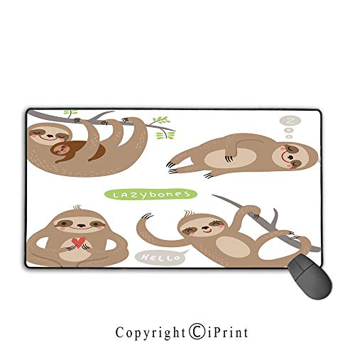Extended gaming mouse pad with stitched edges,Sloth,Childish Collection of Funny Cute Lazy Sloths Hugging Family Romance Love Decorative,Light Brown Grey Green, Suitable for offices and homes,15.8