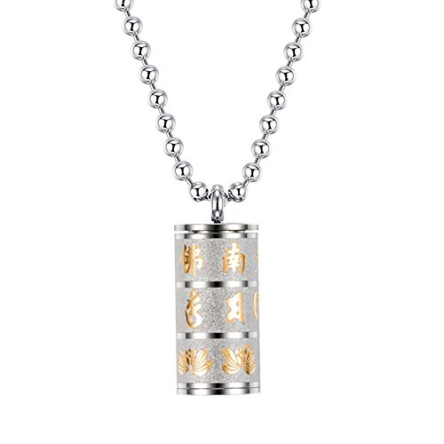 PAURO Men's Stainless Steel Buddhist Mantra Om Mani Padme Hum Openable Cylinder Bottle Prayer Wheel Necklace Gold and ()