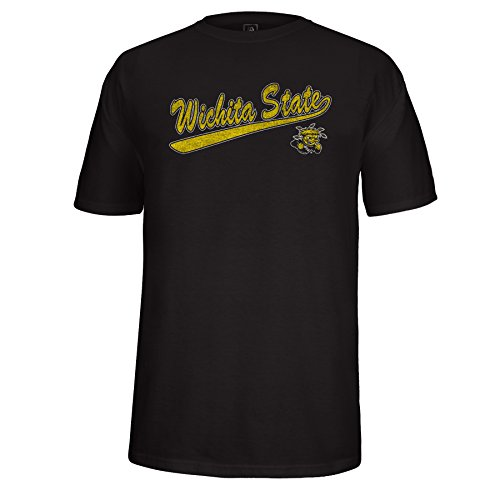 NCAA Wichita State Shockers Men's School Name Script Tail Logo Choice Tee, Black, ()
