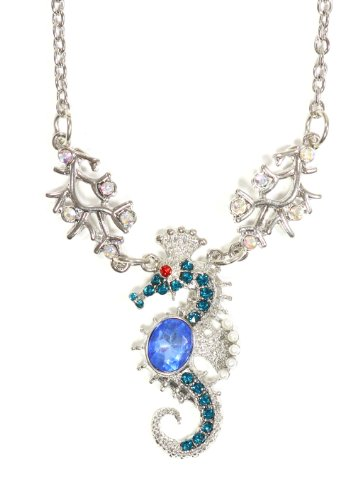 Crystal Seahorse Necklace Silver Tone Aquatic Coral Reef NP18 Beach Ocean Pendant Fashion Jewelry ()