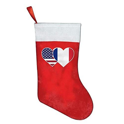 Lovexue France USA Flag Twin Heart Felt Christmas Stocking Party (Mini Needlepoint Christmas Stocking)