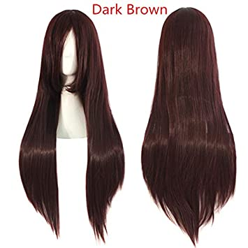 "Long Cosplay Wig 32"" Synthetic Straight Hair 17Color Orange Black Red Blonde Heat Resistant Costume"