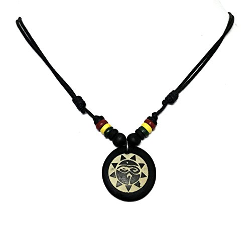 [Rasta plaided Hippie Coqui Taino Sun Necklace Buddha All Seeing Third Wisdom Eye Amulet Black Powers] (Mother And Infant Daughter Costumes)