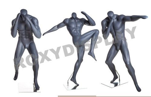 (MZ-BOXING-GROUP) Eye Catching Male Headless Mannequin, Athletic Style. Boxing pose. MZ-BOXING-1, MZ-BOXING-2, MZ-BOXING-3. by Roxy Display