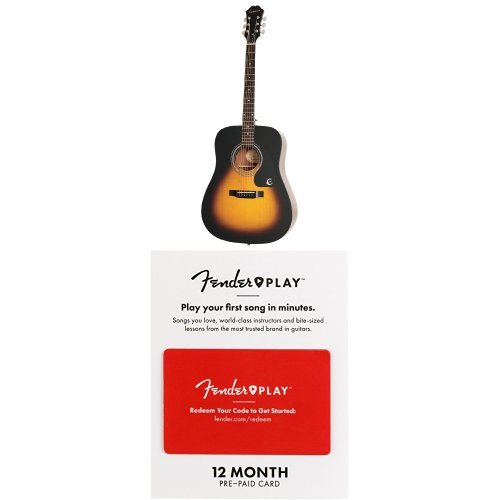 stic Guitar, Vintage Sunburst with With Guitar Lesson - 12 Month Prepaid Card (Epiphone Acoustic Case)
