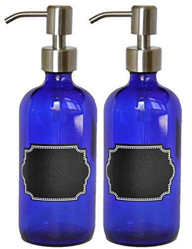 Permanent Blue Dispenser - 2 Pack Firefly Craft Cobalt Blue PLASTIC Bottles with Stainless Steel Pump and Chalkboard Labels, 16 ounces each