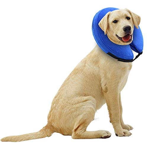 E-KOMG Protective Inflatable Collar for Dogs,Pet Recovery Collar,Cone for Cat After Surgery,Does Not Block Vision E-Collar (Large)