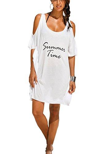 Women's Baggy Swimwear Bikini Cover-ups/beach Dress/night T-shirt(FBA) (Free size, White-summer time)