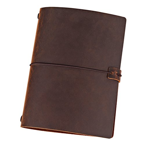 A5 Travelers Notebook Cover, Genuine Leather Journal Cover with Elastics for Standard A5 Size Notebook (softcover & hardcover), Brown