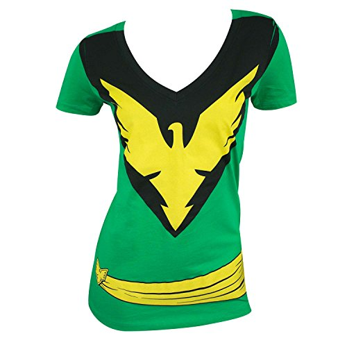 X-Men Women's Phoenix Green Costume T-Shirt- Slim -