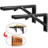 StarVast 2 Pcs Folding Shelf Brackets 12 inch Black Heavy Duty Metal Triangle Table Bench Collapsible Shelf Bracket, Shelf Support Bracket Hinge Wall Mounted with Mounting Screws