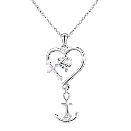 S925 Sterling Silver Faith Hope Love Heart Cross Anchor Pendant Necklace for Women 18""