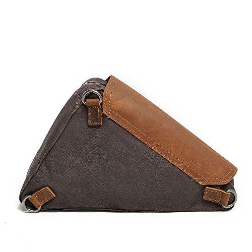 Shoulder Bag Dark Classic Retro Messenger Waterproof Canvas Yiwuhu Gray Simple Color Zipper zwXYRxgq