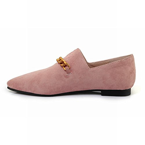 Carolbar Women's Solid Color Decorations Flat Pointed Toe Loafer Shoes Pink hQcBCgia