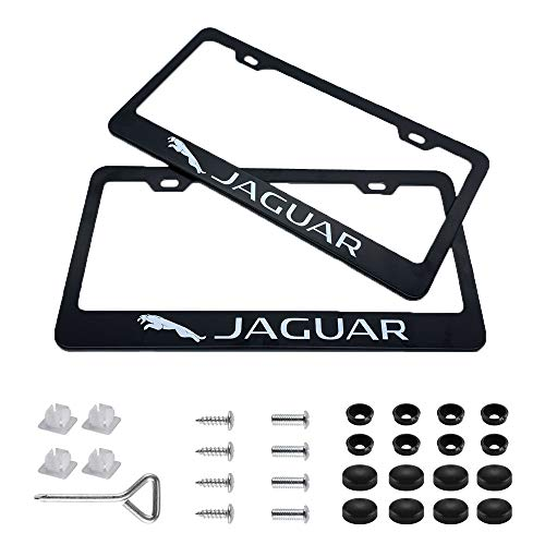 Auto sport 2pcs License Plate Frames with Screw Caps Set Stainless Steel Frame Applicable to US Standard Cars License Plate Fit Jaguar Accessory