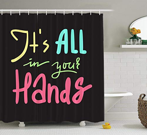 LILYMUA Fabric Shower Curtain and Motivational Quote Beautiful Lettering Inspirational Shirt Bag Bathroom Shower Curtains for Bathroom Hotels Set of Hooks Mold Proof Water 72X78 Inch