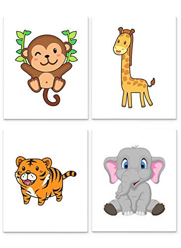 Jungle Animals Nursery Decor, Set of Four 8 x10 inch Unframed Art Prints - Great for Baby Room Wall Decor