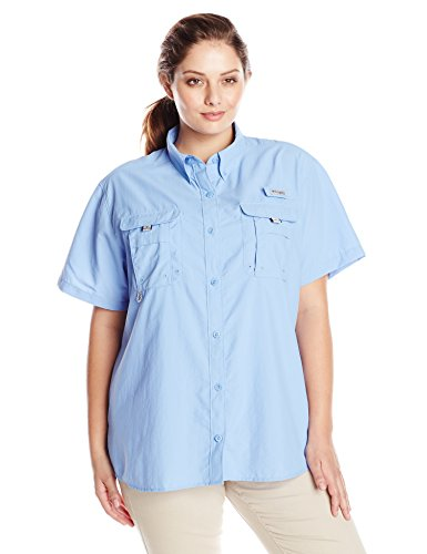 Columbia Womens Plus-Size Bahama Short Sleeve Shirt, White Cap, 1X