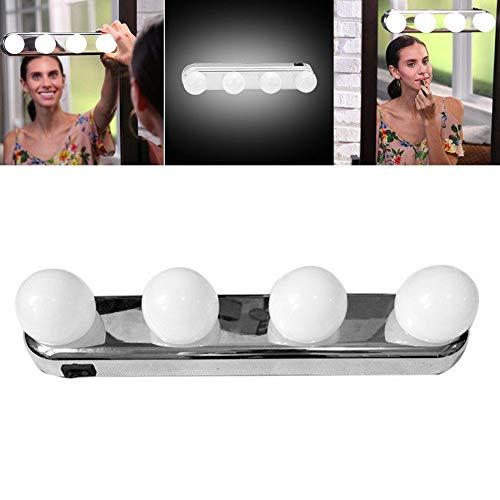 GEZICHTA 4 Bombillas LED Maquillaje Vanity Espejo Luz, Batería Alimentado Inalámbrico Portátil Profesional Maquillaje...
