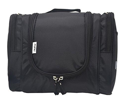 FLYMEI Large Waterproof Toiletry Bag For Men & Women – Toiletries Kit Cosmetic Bag Makeup Organizer Bathroom Storage Bags with Hanging Hook (Black)
