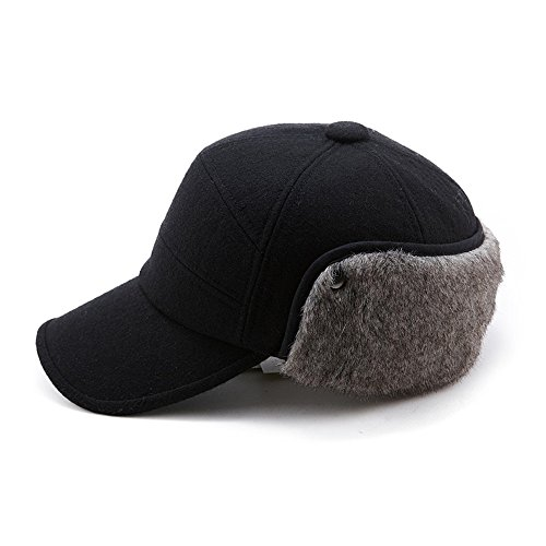 (Winter Wool Baseball Cap Earflap Hat Faux Fur Ear Flap Hat for Men Fitted Hat Hunting Black Unisex SIGGI)