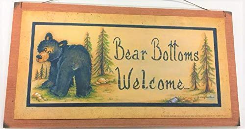 - Bear Bottoms Welcome Teddy Country Bathroom outhouse Wooden Wall Art Sign Bath Decor Outhouse