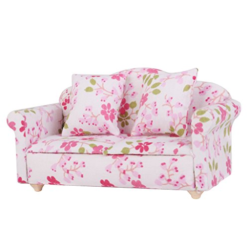 Dollhouse Miniature Flower Double Seat Sofa Couch With