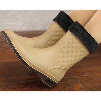 tacco autunno stivali grosso in Desy mandorla almond blu stivali da nero donna pelle scarpa per PVC pioggia casual inverno vAxYwqPS