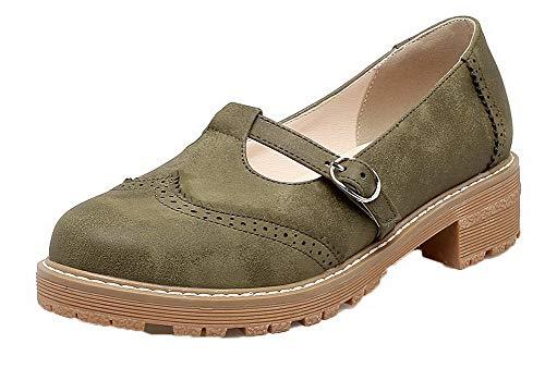 Rond Agoolar Unie Pu Chaussures Boucle Couleur Cuir Femme L qfFgtp