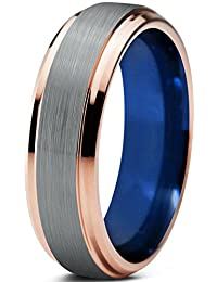 Tungsten Wedding Band Ring 6mm for Men Women Blue 18k Rose Gold Beveled Edge Brushed Polished Lifetime Guarantee