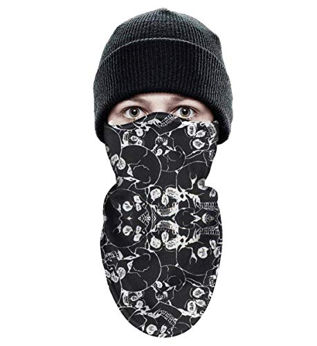 Adult Ski face Mask Inner Layer Fleece Fabric Winter Ski Mask Balaclava Warm Fleece Warm Tactical Winter Face Mask Halloween Inspiration with Skull -