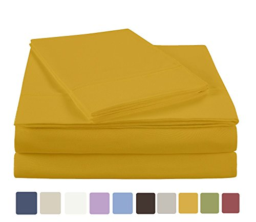 NC Home Fashions Ultra Soft Brushed Microfiber Solid Sheet Set- Wrinkle, Fade, Stain Resistant-Full, Spicy Mustard-4 Ps