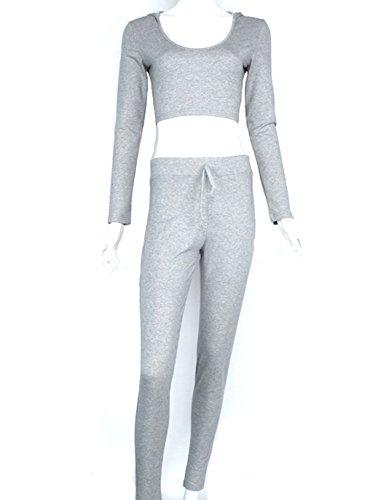 自分の力ですべてをするおそらく保持女性のファッションスーツ衣装長袖クロップトップレギンス2ピーススポーツセットスウェットパンツCrop Hoodieメススウェットシャツパンツsize-xl