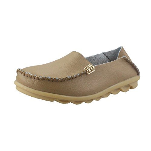 fisca Women's Tanner Pebbled Drivers Leather Casual Loafer Flat Boat Shoes-Brown (Ladies Leather Casual Shoes)