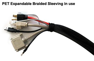 Color 1.25 PET Expandable Braided Sleeving Black Electriduct 50 Feet