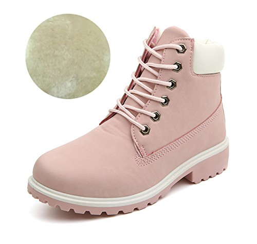 New Spring Fall Winter Top Quality Comfortable Platform Boots Women Ankle Boots Suede Rubber Boots Female Lady botas Shoes Pink With Lining (Top Quality Rubber)