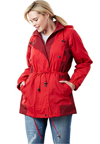 Woman Within Plus Size Colorblocked Taslon Anorak - Fresh Red Rich Burgundy, ()