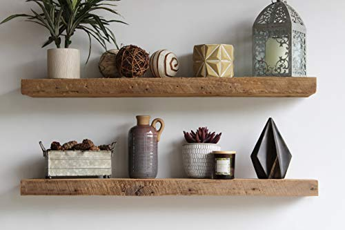 Urban Legacy Floating Shelves Made from Genuine Reclaimed Wood | Trendy, Modern, Barn Wood | Amish Made in Lancaster County, PA (Natural, 48